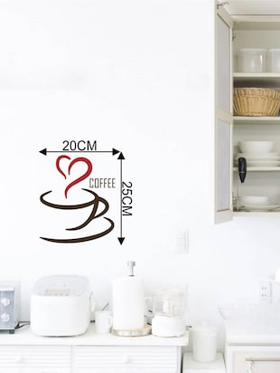 Rawpockets Wall Decals ' Coffee Love '  Wall stickers (PVC Vinyl) Multicolour - 15734037 - Standard Image - 4