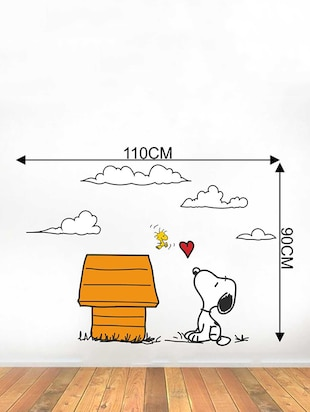 Rawpockets Wall Decals ' Snoopy Dog Love - Kid's Room '  Wall stickers (PVC Vinyl) Multicolour - 15734047 - Standard Image - 4