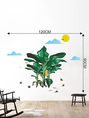 Rawpockets Wall Decals ' Banana Tree Story with Sunrise '  Wall stickers (PVC Vinyl) Multicolour - 15734054 - Standard Image - 4