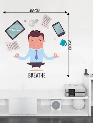 Rawpockets Wall Decals ' Breathe Infograph - Office '  Wall stickers (PVC Vinyl) Multicolour - 15734066 - Standard Image - 4