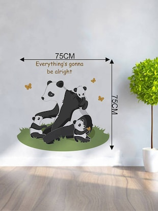 "Rawpockets Wall Decals ' "" Everything Gonna Be Alright "" Quote and Panda Bear '  Wall stickers (PVC Vinyl) Multicolour - 15734077 - Standard Image - 4"