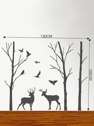 Rawpockets Wall Decals ' Deer and Jungle Black Story '  Wall stickers (PVC Vinyl) Multicolour - 15734083 - Standard Image - 4