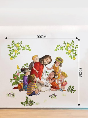 Rawpockets Wall Decals ' Lord Jesus with Kids '  Wall stickers (PVC Vinyl) Multicolour - 15734085 - Standard Image - 4