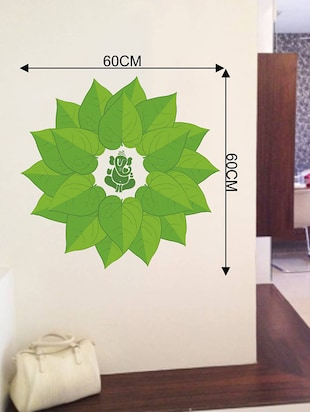 Rawpockets Wall Decals ' Lord Ganesha Green Decorative Leaves '  Wall stickers (PVC Vinyl) Multicolour - 15734092 - Standard Image - 4