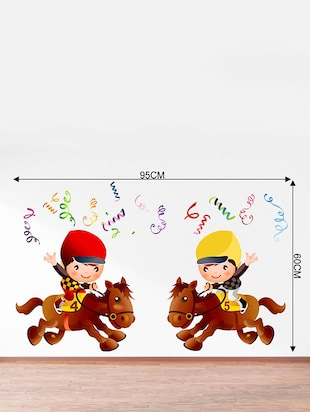 Rawpockets Wall Decals ' Champion Kids Riding Horse - Kids Room '  Wall stickers (PVC Vinyl) Multicolour - 15734116 - Standard Image - 4