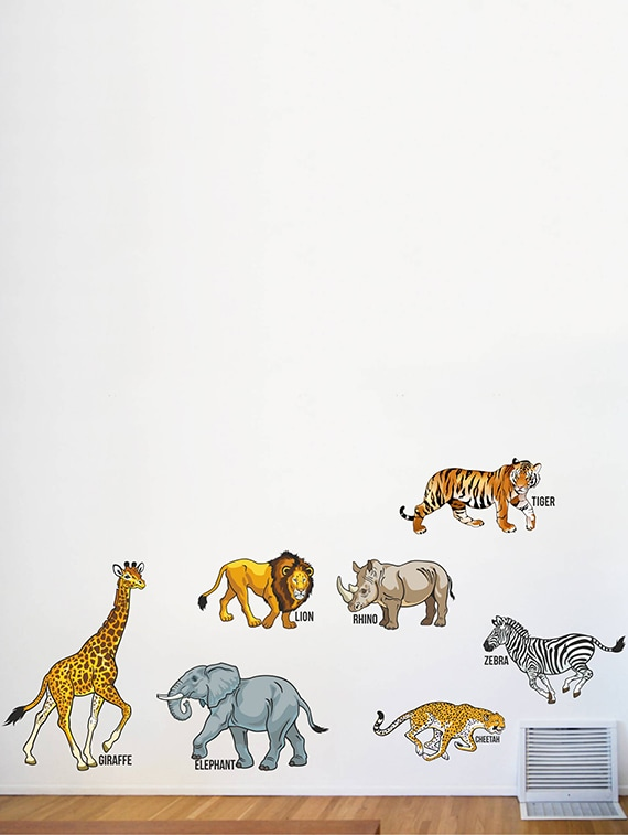 buy rawpockets wall decals ' wild animals with name - kids room