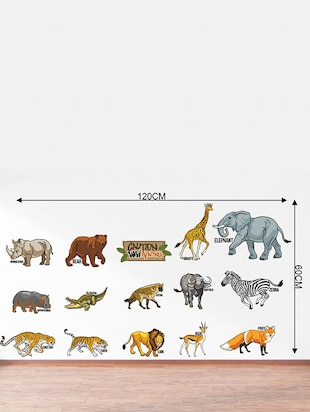 Rawpockets Wall Decals ' Caution Wild animals - Kids Room '  Wall stickers (PVC Vinyl) Multicolour - 15734122 - Standard Image - 4