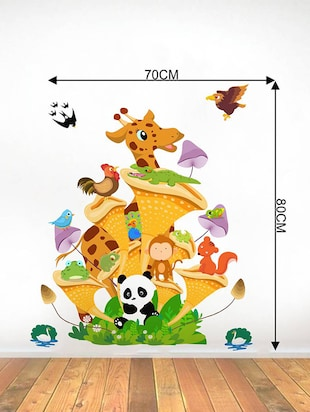Rawpockets Wall Decals ' Animals Tree House - Kids Room '  Wall stickers (PVC Vinyl) Multicolour - 15734132 - Standard Image - 4
