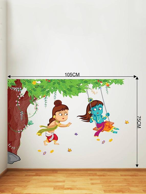 3c7039f1985 Rawpockets Wall Decals   Lord Krishna Playing Swing under Tree   Wall  stickers (PVC Vinyl