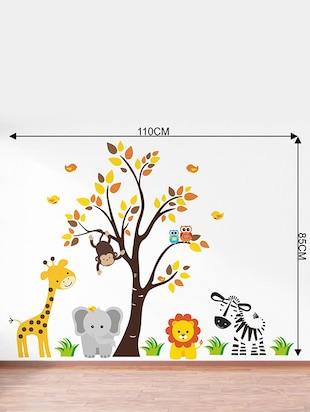 Rawpockets Wall Decals ' Baby Jungle Animals Story '  Wall stickers (PVC Vinyl) Multicolour - 15734138 - Standard Image - 4