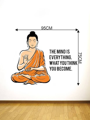 Rawpockets Wall Decals ' Peaceful Buddha and Quote on Mind '  Wall stickers (PVC Vinyl) Multicolour - 15734141 - Standard Image - 4