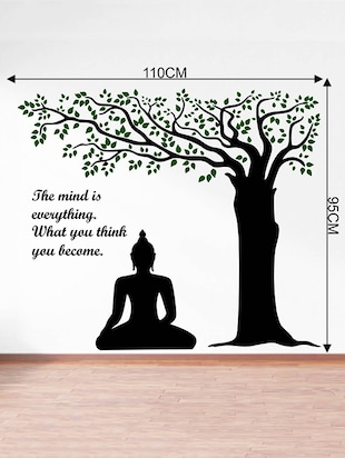 Rawpockets Wall Decals ' Lord Buddha under Tree and Quote on Mind '  Wall stickers (PVC Vinyl) Multicolour - 15734143 - Standard Image - 4