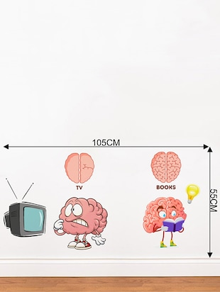 Rawpockets Wall Decals ' TV vs Brain '  Wall stickers (PVC Vinyl) Multicolour - 15734156 - Standard Image - 4