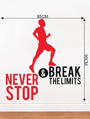 Rawpockets Wall Decals '  Never Stop and Break limits ' Motivational Quote '  Wall stickers (PVC Vinyl) Multicolour - 15734161 - Standard Image - 4