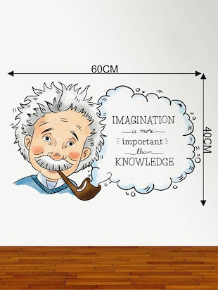 Rawpockets Wall Decals ' Albert Einstein Imagination Quote '  Wall stickers (PVC Vinyl) Multicolour - 15734162 - Standard Image - 4