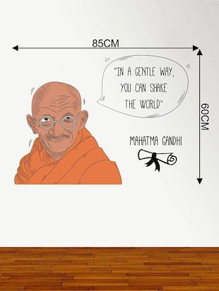 Rawpockets Wall Decals ' Mahatma Gandhi and His Quote '  Wall stickers (PVC Vinyl) Multicolour - 15734167 - Standard Image - 4
