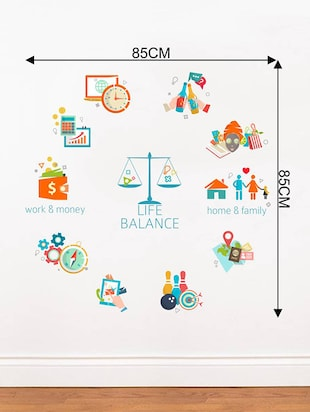 Rawpockets Wall Decals ' Life Balance Chart '  Wall stickers (PVC Vinyl) Multicolour - 15734170 - Standard Image - 4