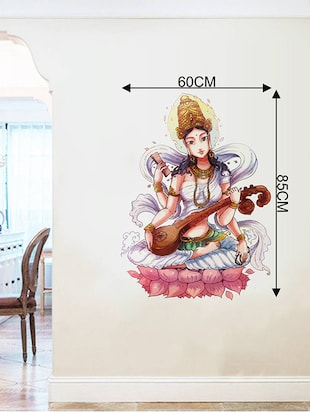 Rawpockets Wall Decals ' Goddess Saraswathi  '  Wall stickers (PVC Vinyl) Multicolour - 15734182 - Standard Image - 4