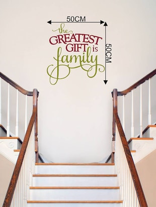 Rawpockets Wall Decals '  The Greatest Gift is Family?' Quote '  Wall stickers (PVC Vinyl) Multicolour - 15734193 - Standard Image - 4