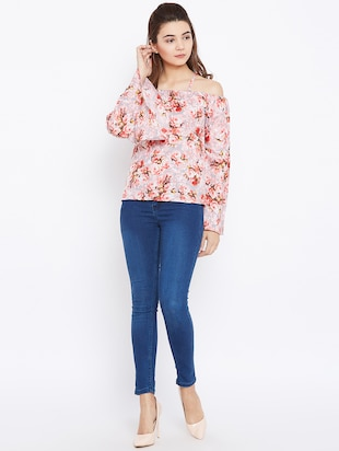cold shoulder bell sleeved floral top - 15735847 - Standard Image - 4