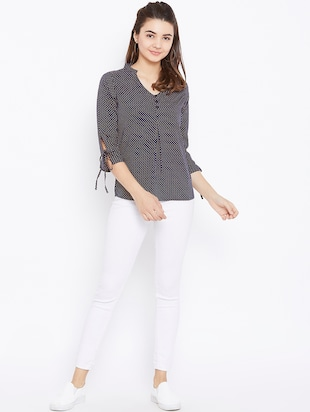 button detail tie up sleeved top - 15735853 - Standard Image - 4