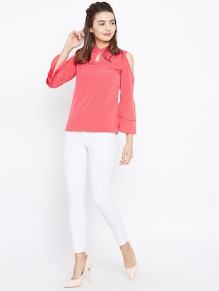 keyhole neck bell sleeved top - 15735856 - Standard Image - 4