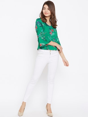 v neck bell sleeved top - 15735868 - Standard Image - 4