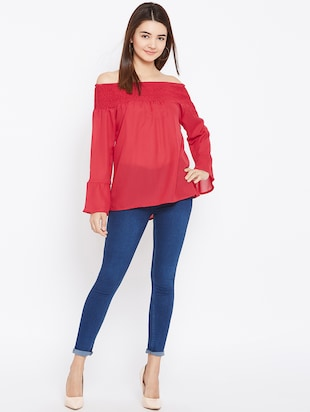 smocked off shoulder top - 15735869 - Standard Image - 4
