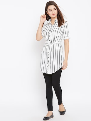 tie up waist striped tunic - 15735898 - Standard Image - 4