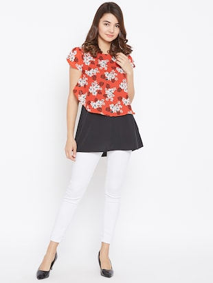 floral overlay high low tunic - 15735911 - Standard Image - 4
