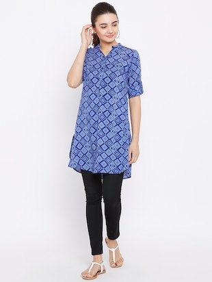 button detail roll up sleeved tunic - 15735913 - Standard Image - 4