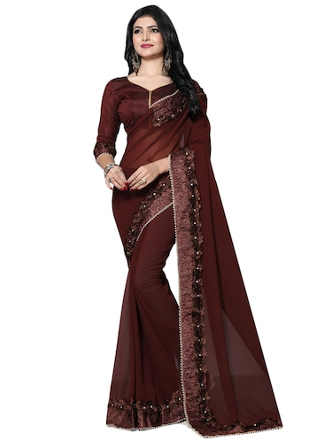 floral lace border saree with blouse - 15736639 - Standard Image - 1
