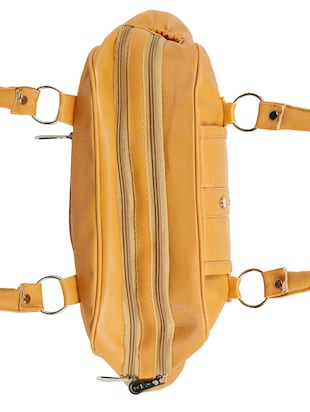 yellow leatherette (pu) regular handbag - 15737106 - Standard Image - 4