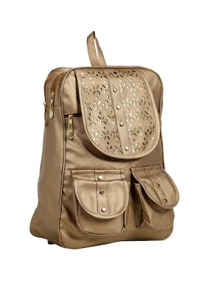 brown leatherette (pu) fashion backpack - 15737534 - Standard Image - 4