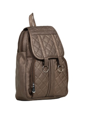 brown leatherette (pu) fashion backpack - 15737544 - Standard Image - 4