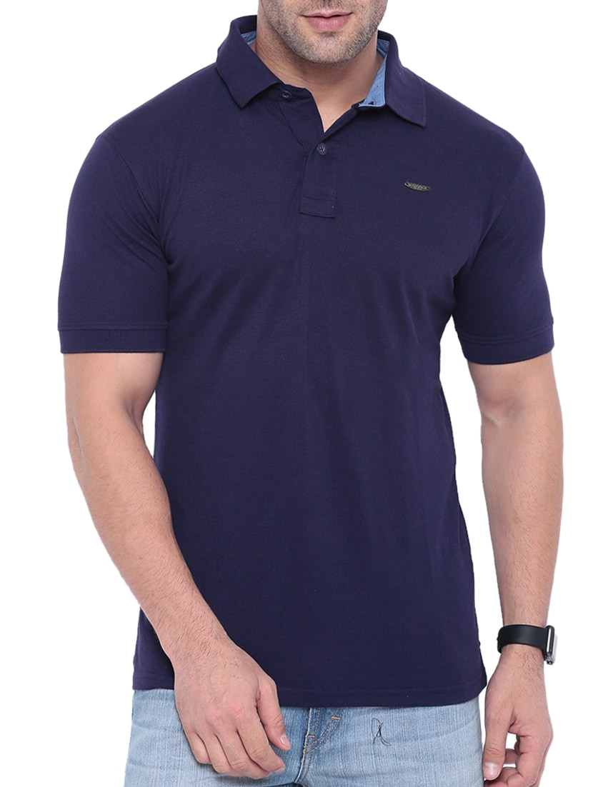 56fb6c2e Buy Navy Blue Cotton Polo T-shirt for Men from Gritstones for ₹424 at 58%  off   2019 Limeroad.com