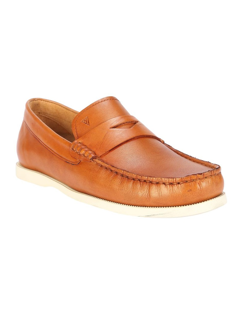 1de4233ea73f46 Buy Brown Leather Slip On Loafers by Van Heusen - Online shopping for  Loafers in India