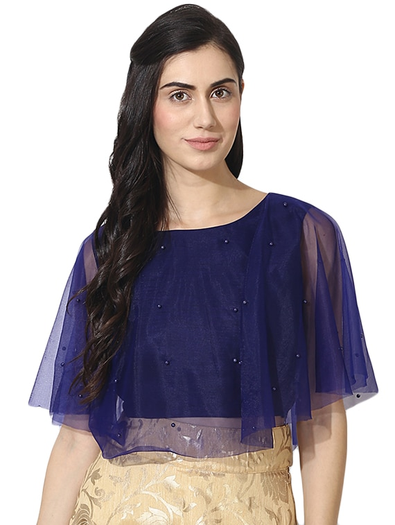 d3ea79048381ad Buy Mesh Cape Faux Pearl Crop Top for Women from Akimia for ₹895 at 36% off