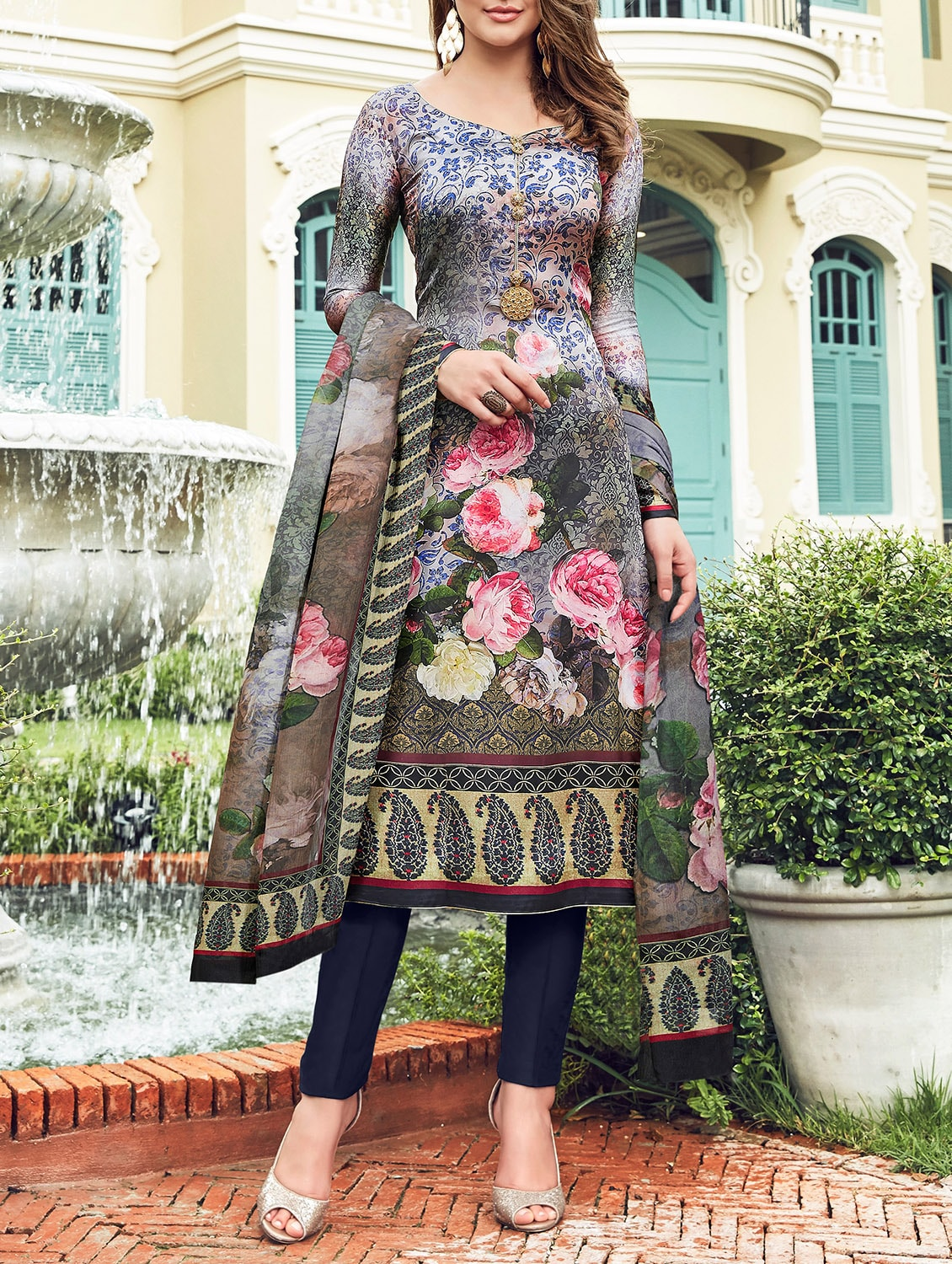 76bb546e211 Buy Floral Printed Semi-stitched Pant Suit by Saini Vastra - Online shopping  for Semi-stitched Suits in India