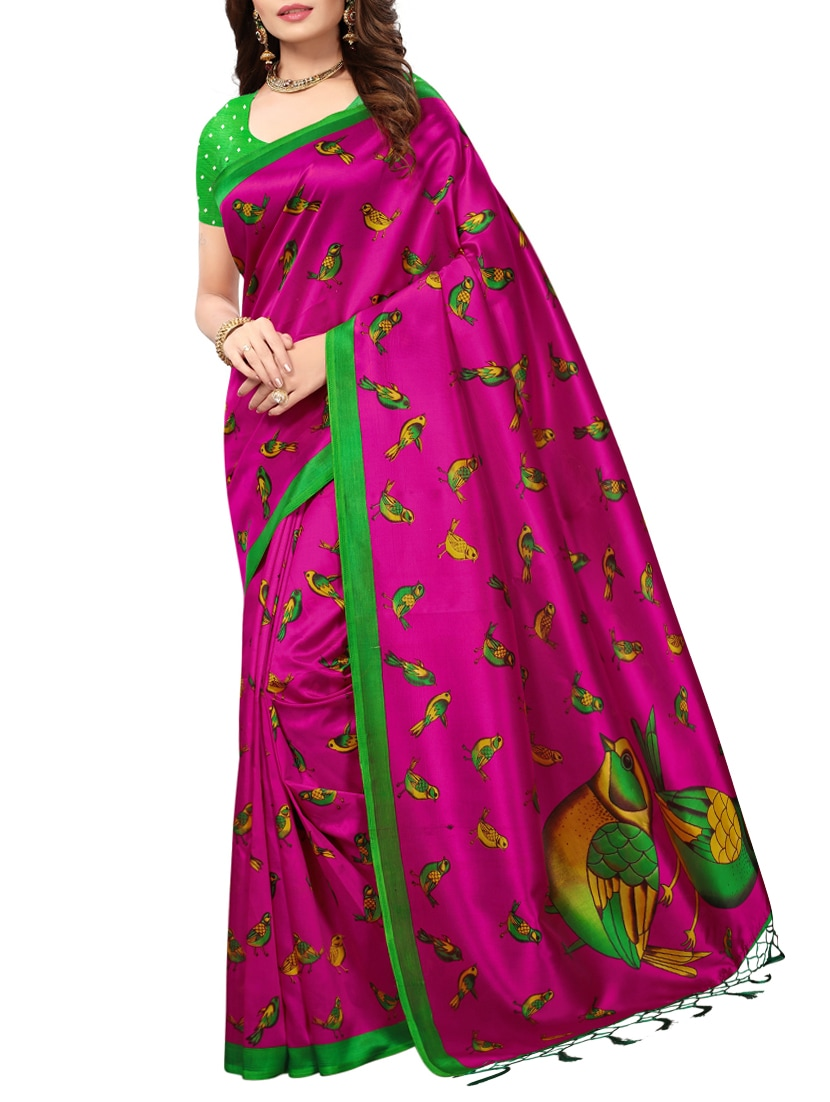 6ef3e001e92 Buy Conversational Printed Mysore Silk Saree With Blouse for Women from Salwar  Studio for ₹647 at 48% off