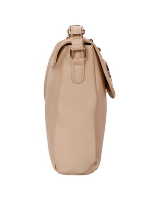 beige leatherette (pu) regular sling bag - 15746690 - Standard Image - 4