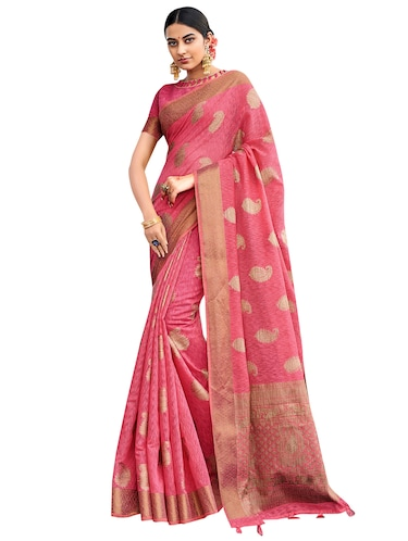 gold border jute linen banarasi saree with blouse - 15746921 - Standard Image - 1