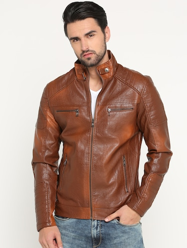 brown leather biker jacket - 15747192 - Standard Image - 1