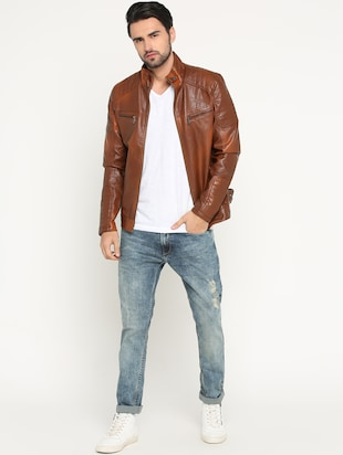 brown leather biker jacket - 15747192 - Standard Image - 4