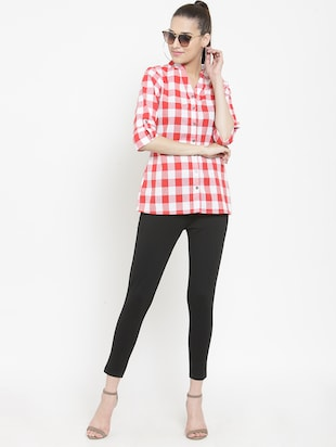 mandarin collar checkered shirt - 15747211 - Standard Image - 4
