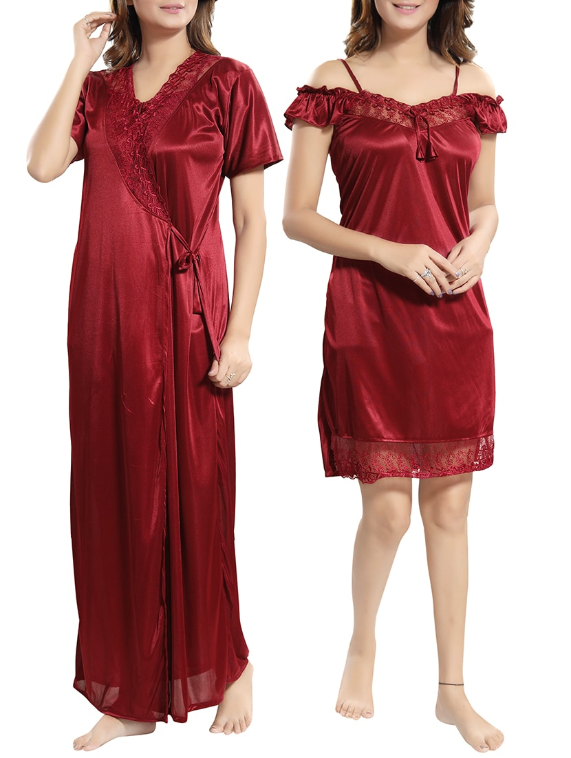 22c74f940b Buy Set Of Lacy Nightwear Robe And Nighty by Be You - Online shopping for Nightwear  Sets in India