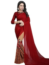 d5e41cb5379d9 Buy Cream Half And Half Saree With Blouse for Women from Rajnandini ...
