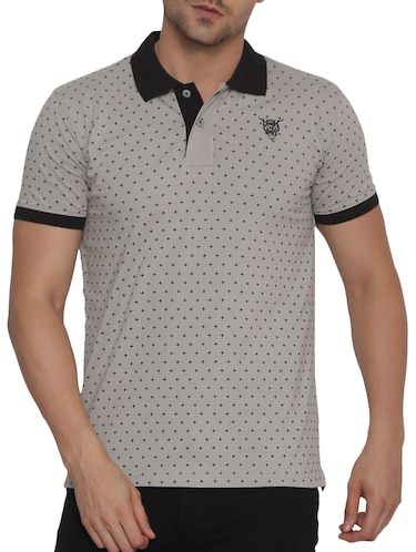 0a0114ac Buy Grey Checkered Polo T-shirt for Men from Bullmer for ₹441 at 56 ...
