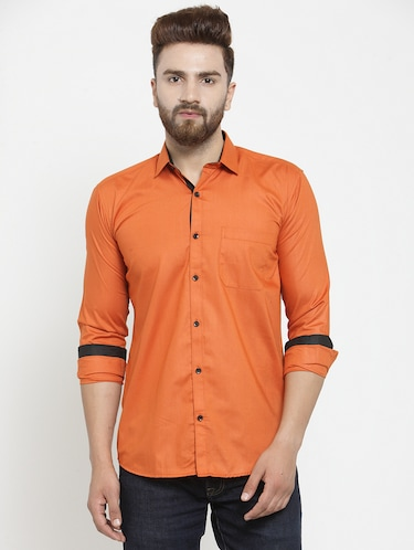 solid orange casual shirt - 15755125 - Standard Image - 1