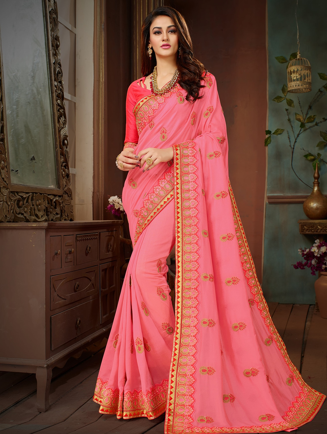 e58a5c9e2 Embroidered Pink Saree With Blouse